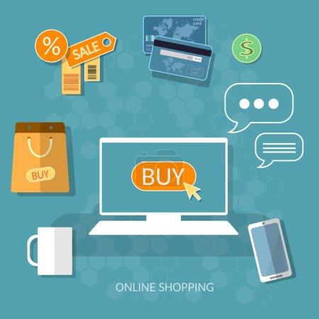 Illustration pour Magasinage sur Internet acheter maintenant concept boutique en ligne e-commerce processus d'achat vecteur internet - image libre de droit