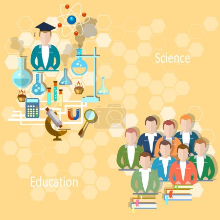 Illustration for Study and education concept: pupils, teachers, school, university, college, lecture, lesson, teaching, exams, science, chemistry, physics, vector illustration - Royalty Free Image