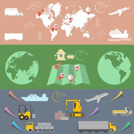 Ilustración de Logística y transporte, pancartas plana concepto logístico - Imagen libre de derechos