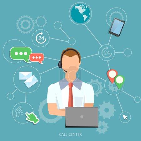 Illustration pour Call center man opérateur de support technique - image libre de droit