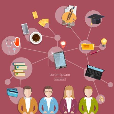 Illustration pour Réseau social et travail d'équipe concept communication et apprentissage style plat illustration vectorielle - image libre de droit
