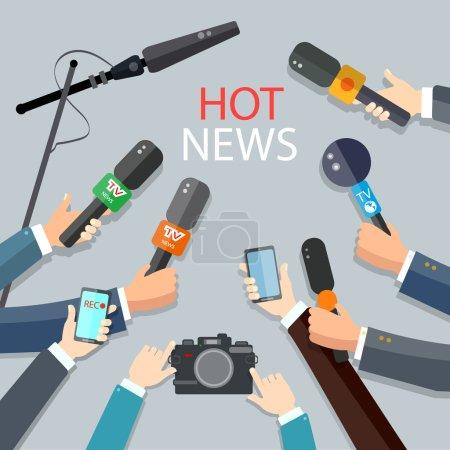 Hot news live report concept