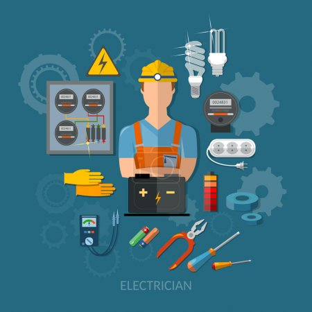 Professional electrician with electricity tools flat vector illu