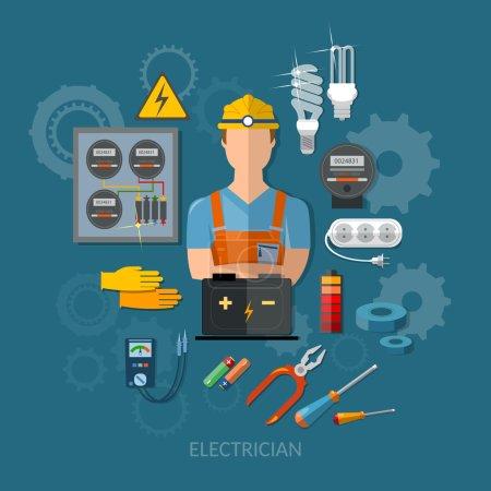 Illustration pour Electricien professionnel avec outils électriques illustration vectorielle plate - image libre de droit