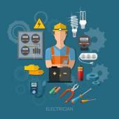Profesionální elektrikář s elektrické nástroje ploché vektor illu