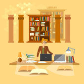 Online library education concept bookcases librarian vector illu