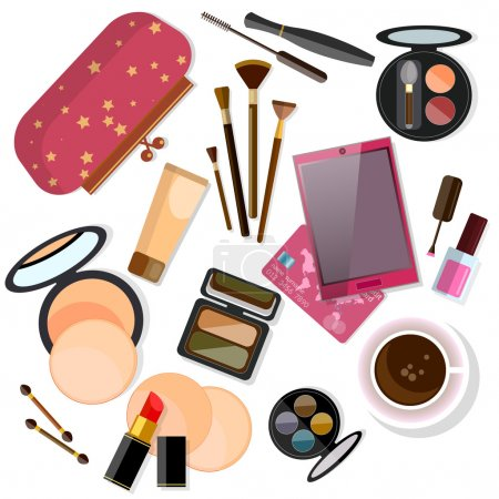 Illustration pour Produits de maquillage, isolés sur l'illustration vectorielle blanc - image libre de droit