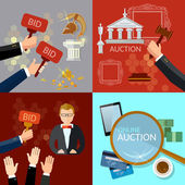 Auction and bidding set flat vector illustration