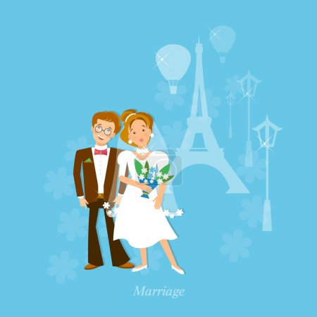 Wedding couple in love honeymoon to Paris