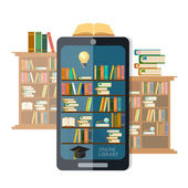 Online library mobile app education concept vector illustration