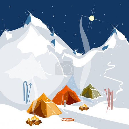 Camping in tents in the mountains