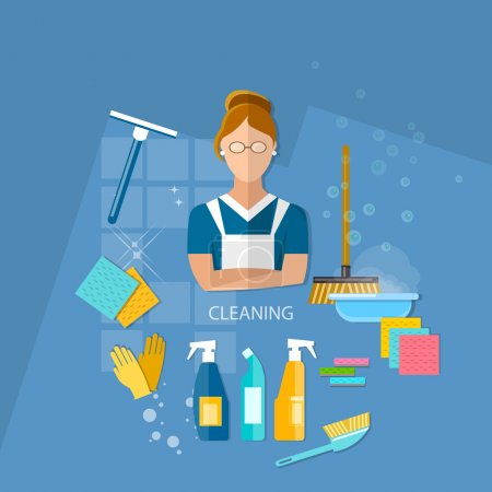 Illustration for Cleaning service maid house cleaning vector illustration - Royalty Free Image