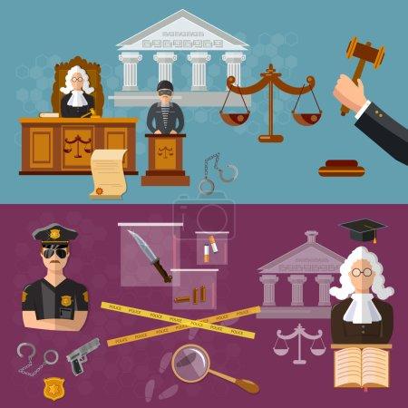 Illustration pour Système de justice bannière salle d'audience le défendeur et le juge droit vecteur illustration - image libre de droit