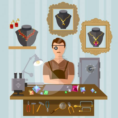 Jeweler at the workplace