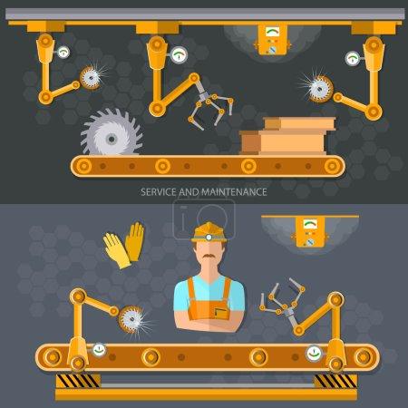 Robot operation of the conveyor, conveyor belt