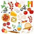 Pizza ingredients italian pizza vector collection...