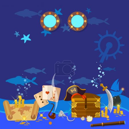 Underwater treasure pirate chest with gold