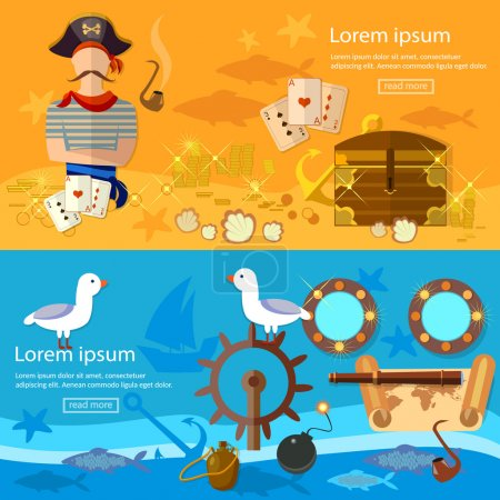 Pirate adventure banners treasure chest flask of rum seagull