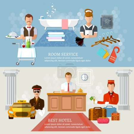 Illustration for Hotel service banners professional hotel staff vector illustration - Royalty Free Image