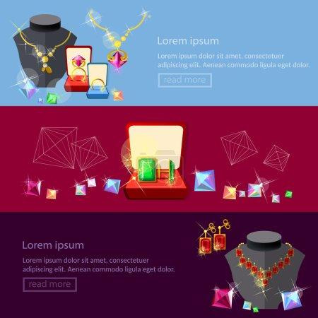 Jewelry banners jewels earrings rings gems pendants