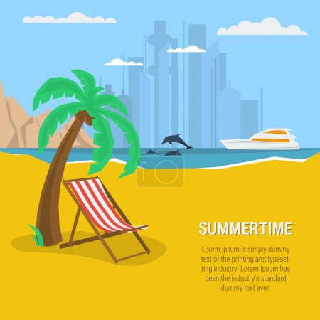 Vector summertime square traveling concept. Deck c...
