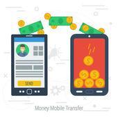 Vector concept mobile money transfering