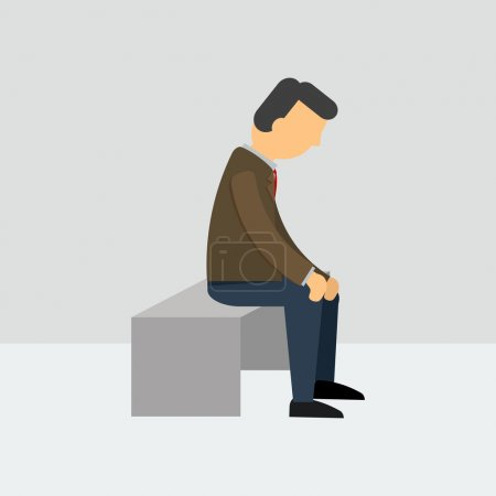 Illustration for Vector illustration. Depressed man sitting on a bench - Royalty Free Image