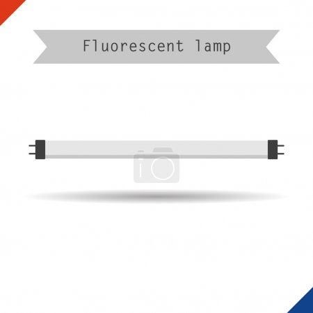 Illustration for Vector illustration. Flat style. Icon long fluorescent phyto light lamp for plants - Royalty Free Image