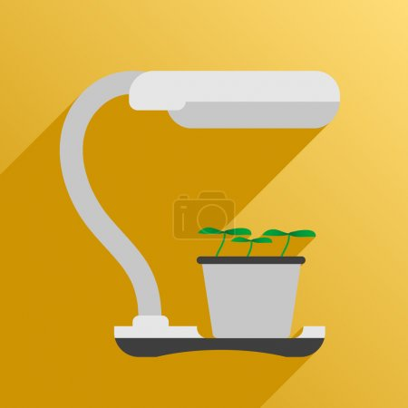 Illustration for Vector illustration. Flat style. Icon. UV lamp for phytolight for plants - Royalty Free Image