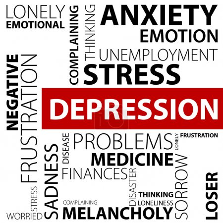 Illustration for Depression concept made with many words in different positions - Royalty Free Image