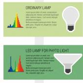 Features led and ordynary lamps