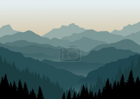 Mountain landscape at dawn.