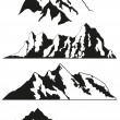 Mountain ranges isolated on white background. Can be used for emblems, banners, logos and illustrations. Black and white silhouette of a mountains. Eps 10.