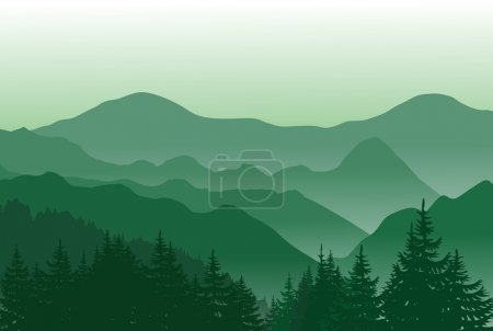 Mountains summer background with trees on the front.