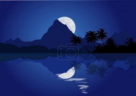 Illustration for Tropical mountains with silhouette of the palms at the night - Royalty Free Image