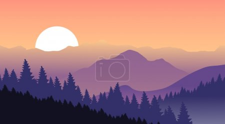 Magical sunset in the mountains. Vector illustration