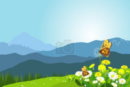 Beautiful mountain landscape with flowers and butterflies