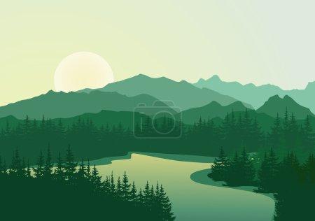 Beautiful sunrise at mountain lake.