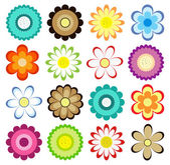 Sada barevných květin ikon