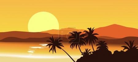 Illustration for Palm island on the background of a tropical hills. - Royalty Free Image