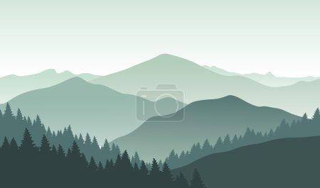 Grey foggy mountain landscape.