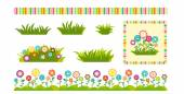 Sada květin a trávy návrhových prvků pro pohlednice a štítky