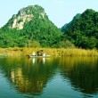 Постер, плакат: MYDUC VIETNAM NOVEMBER 2: people in traditional costume rowing boat in the flooded forest in MYDUC VIETNAM on November 2 2013 MYDUC is a district about 60 km from Hanoi