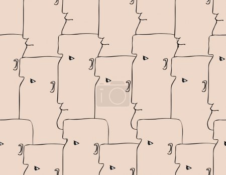 Illustration for Human heads seamless pattern. Bold male profiles, look at the same direction. Symbol of unity, army, crowd, flash mobs, public events. - Royalty Free Image
