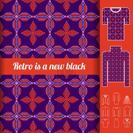 Retro seamless pattern with examples of usage.