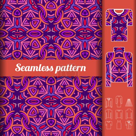 African style seamless pattern with examples of usage. Repeating