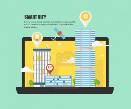 Smart city and future of urban areas concept. Modern city design with future technology for living. Illustration of innovations and Internet of things.