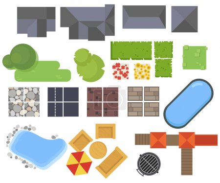 Illustration for Landscape elements, top view. House, garden, tree, lake,swimming pools, bench, table. - Royalty Free Image