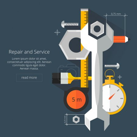 Repair and Service.Home and Mechanic renovation concept.Flat vector illustration