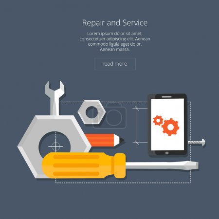 Mobile repair and service concept. Smarthone with tools. Repair smart phone electronic. Flat icon modern design style concept